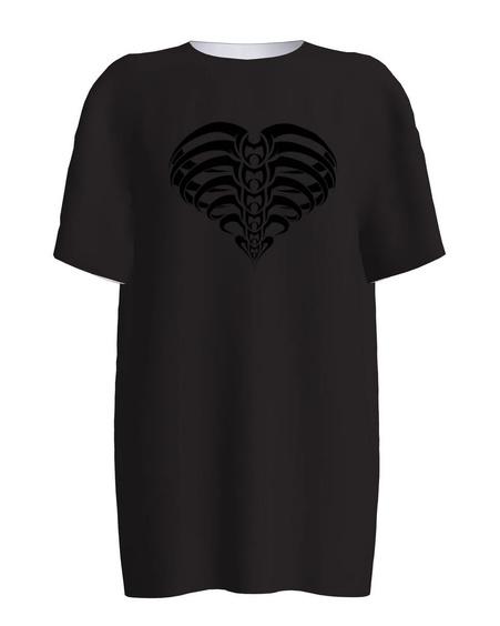 HEART PRINT VELVET BLACK T-SHIRT
