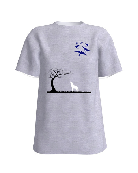 Wolf, swallows and tree