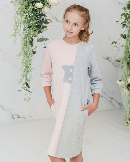 PEEK-A-BOO CAT KIDS SWEATER DRESS