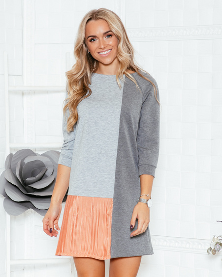 GREY & PEACHY TWAIN PLEATED DRESS