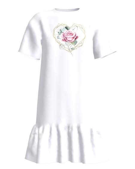 Flower Heart Frill Dress White