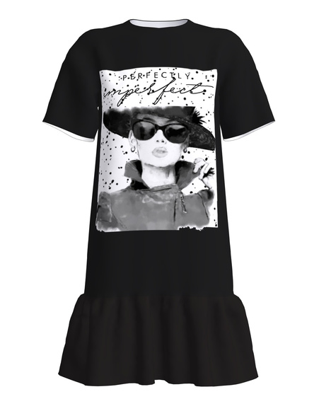 Perfectly Imperfect T-Shirt Dress With Frill