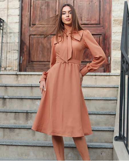 BIG BOW MIDI DRESS CAMEL
