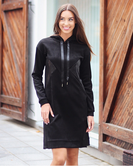 BLACK TRIANGLE LEATHER HOODED DRESS