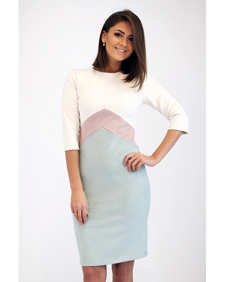 PASTEL TRIO SUEDE DRESS