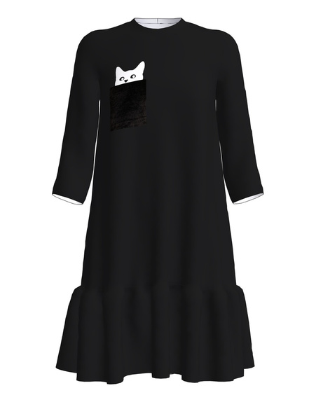 KITTY PRINT FRILL DRESS BLACK