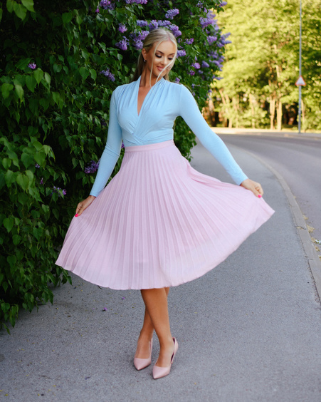 PLEATED MIDI PINK SKIRT