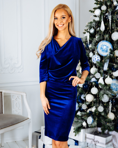 COWL NECK VELVET DRESS BLUE