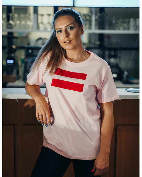 LIGHT PINK UNISEX RED VÕRDSUS PRINT T SHIRT