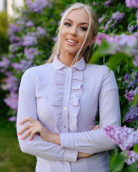 LIGHT LILAC FRILL BLOUSE