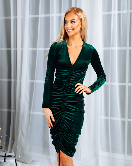 TUNNEL MIDI DRESS GREEN VELVET
