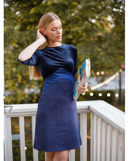 TRIO DRESS VELVET BLUE