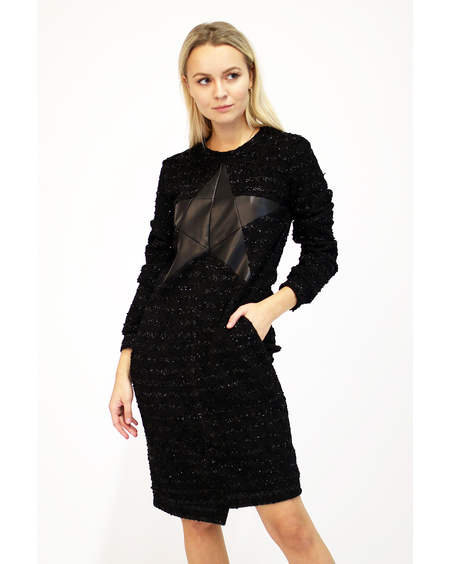 BLACK STAR COOL CUT KNIT DRESS