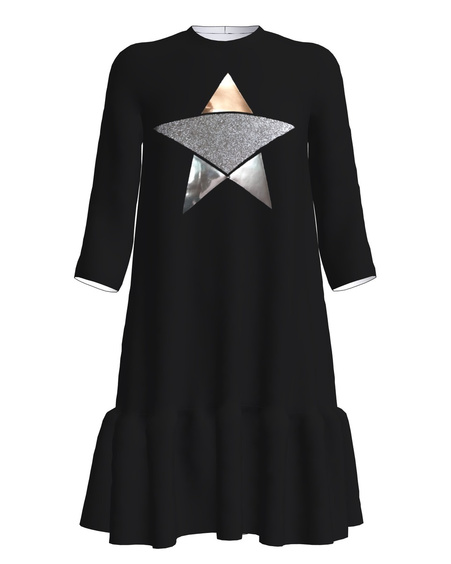 STAR PRINT FRILL DRESS BLACK
