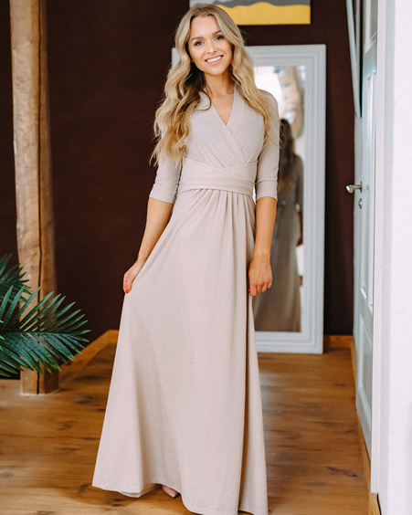 BEIGE SPARKLING ELEGANT MAXI DRESS