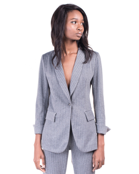 GREY STRIPE SUIT JACKET