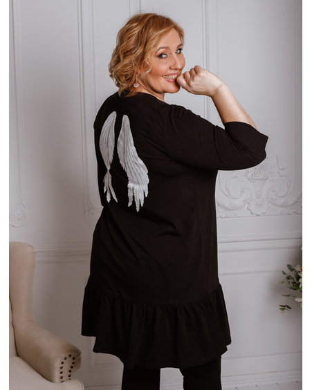 ANGEL PRINT FRILL DRESS BLACK