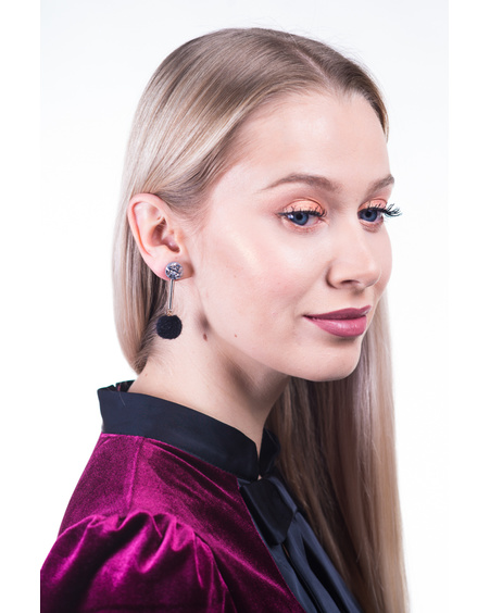 ROCKY STONE  BLACK FUR EARRINGS