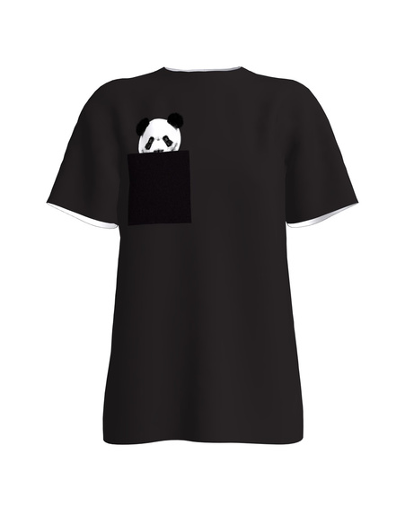BLACK PANDA POCKET T-SHIRT
