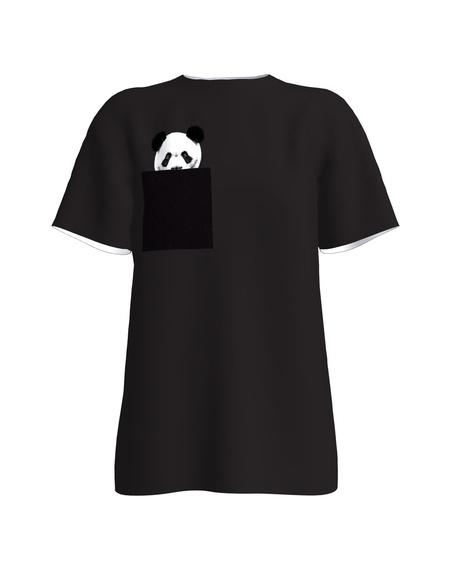 PANDA POCKET BLACK PRINT T-SHIRT