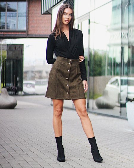 GREEN TD SIGNATURE POPPER SUEDE SKIRT