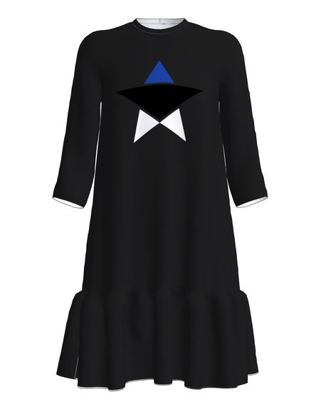 ESTONIAN STAR FRILL DRESS BLACK
