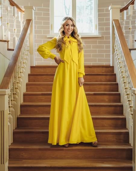 BIG BOW MAXI DRESS YELLOW