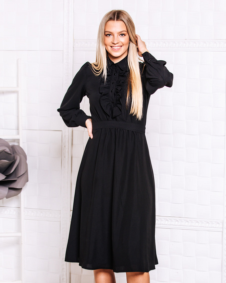 FRILL BLACK MIDI DRESS