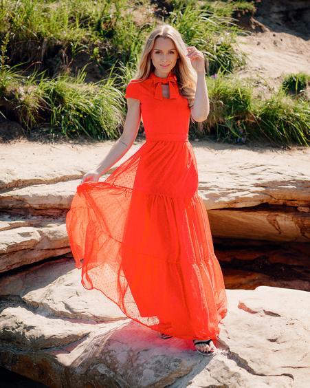 DOLLABLE MAXI CHIFFON DRESS RED