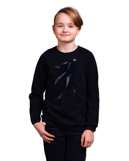ABSTRACT WOLF KIDS SWEATSHIRT BLACK