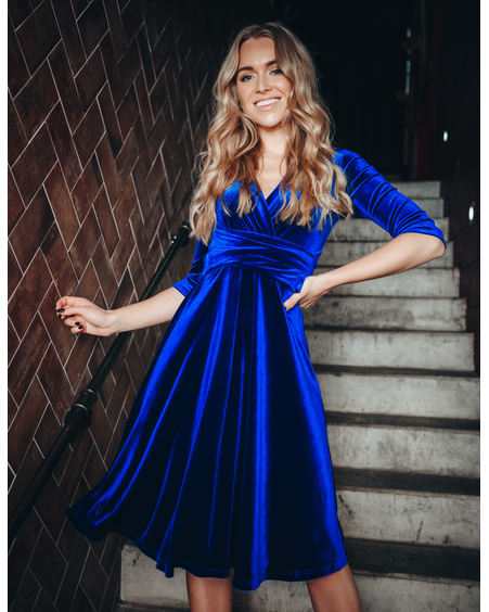 ELEGANT VELVET MIDI DRESS BLUE