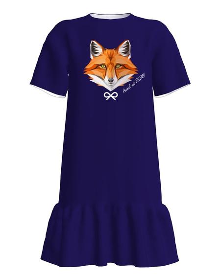 ANIMAL NOT ENEMY FOX FRILL DRESS DARK BLUE