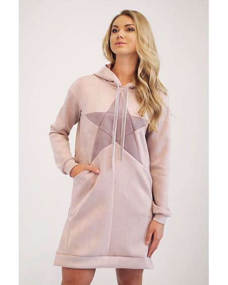 STAR HOODED BLUSH SWEATERDRESS