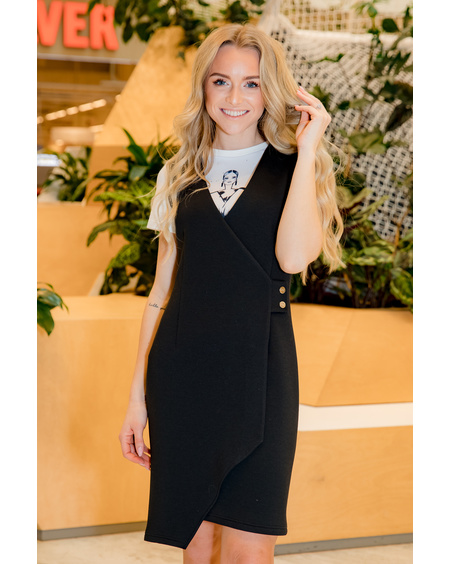 BLACK WRAP STUD DRESS