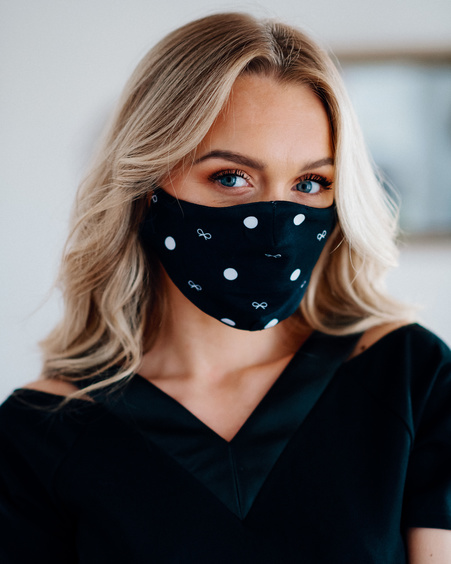 FACE MASK BLACK BOW - 1 PIECE