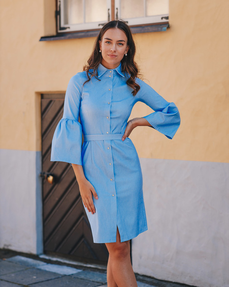 BELTED DENIM BLUE BOYFRIEND BELL SLEEVE DRESS