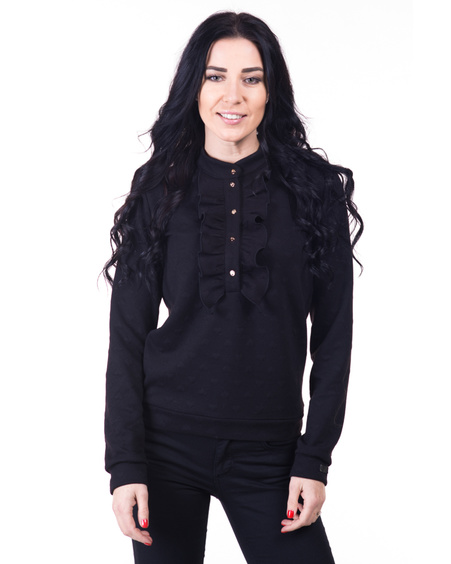 FRILL SWEATER RIVETED BLACK