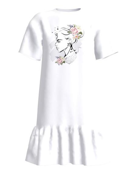 FLOWER DOLL Frill Dress White