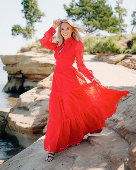 KEYHOLE MAXI CHIFFON DRESS RED