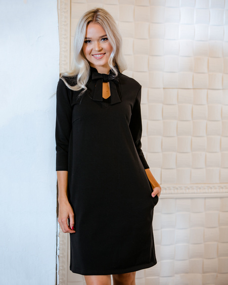 DOLLABLE SWEATER DRESS BLACK