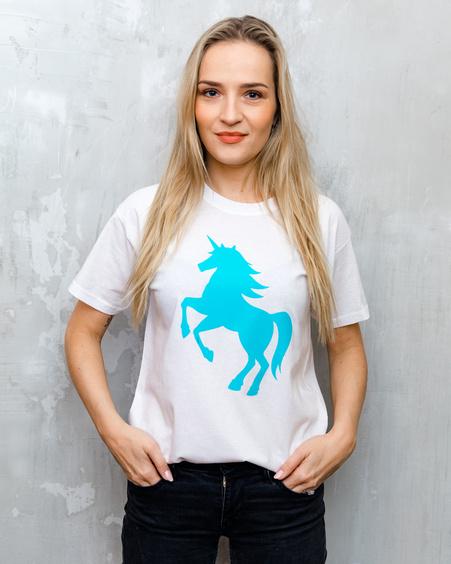 BLUE UNICORN UNISEX T-SHIRT WHITE