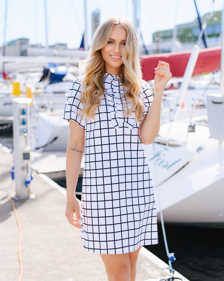 WHITE SQUARED FRILL PEARL DRESS