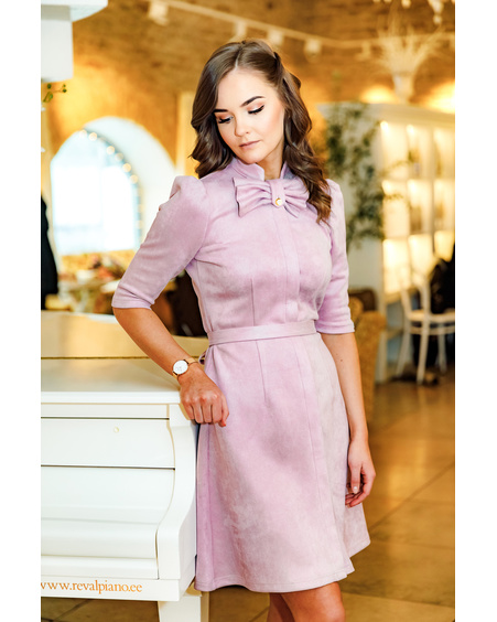 BOW SUEDE DRESS PINK