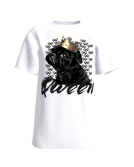 QUEEN PUG WHITE T-SHIRT