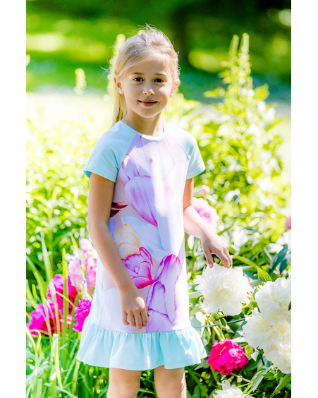 AKINDE FRILL KIDS DRESS AQUA