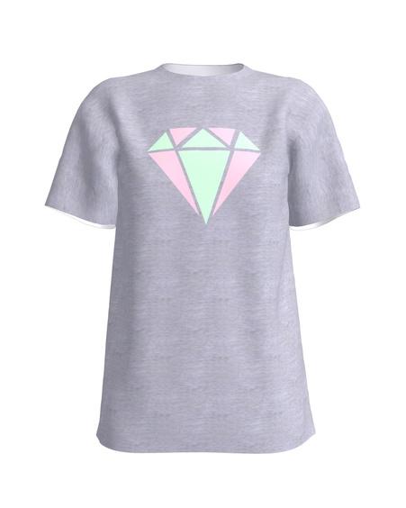 DIAMOND PRINT T-SHIRT LIGHT GREY