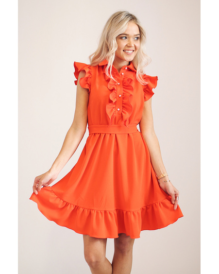 ORANGE FRILL DRESS