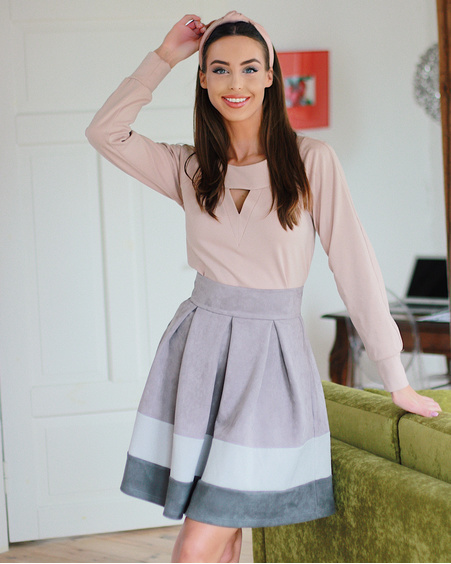 GREY SUEDE TRIO PETUNIA SKIRT