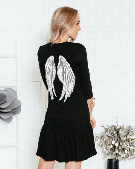 ANGEL FRILL DRESS BLACK