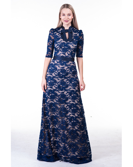 NAVY DOLLABLE LACE MAXI DRESS